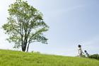 草原に立つ木と手をつなぐ親子