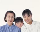 三世代家族のアップ