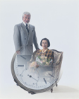 老夫婦と時計(合成)