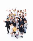 ピースサインの俯瞰の日本の人々