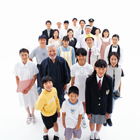 俯瞰の日本の人々