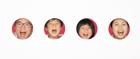口を開ける家族の顔