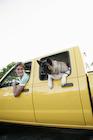 車に乗る男性と犬