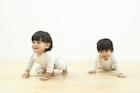 ハイハイをする2人の赤ちゃん