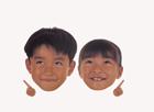 顔アップ合成イメージ・男の子と女の子