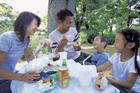 公園でピクニックをする4人家族