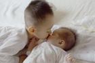 赤ちゃんにキスする男の子