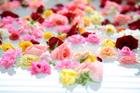 湯船に浮かべたバラの花
