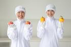 野菜を持った食品衛生服の女性2人