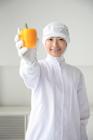 野菜を見せる食品衛生服の女性